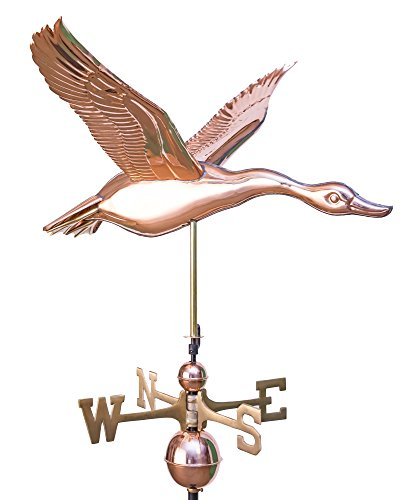 East Coast Weathervanes and Cupolas Flying Goose Weathervane Polished Copper (Goose Weathervane)