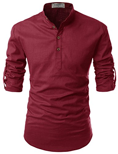 NEARKIN (NKNKN350) Beloved Men Henley Neck Long Sleeve Daily Look Linen Shirts WINE US XL(Tag size XL)