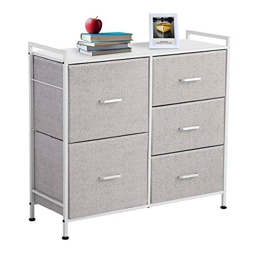 KINGSO Fabric 5 Drawer Dresser Storage Tower Organizer Unit with Sturdy Steel Frame and Easy-Pull Faux Linen Drawers for Bedroom Living Room Guest Room Dorm Closet - Light Gray