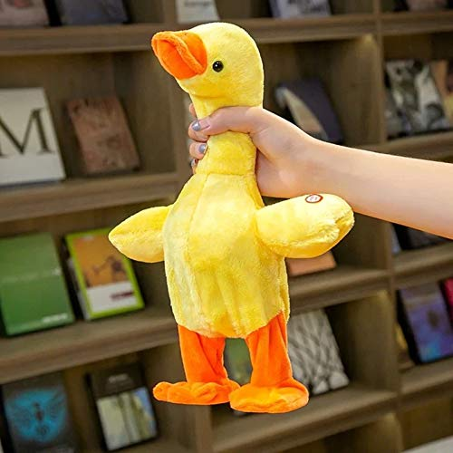 Electric Duck-Shaped Toys That can Talk, Sing and Walk, Funny Plush Toys Suitable for Adults and Children Help Develop Children's Language Skills USB Rechargeable Multiple Playback Functions