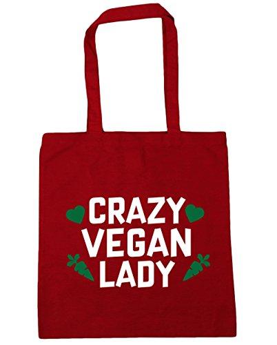HippoWarehouse Crazy Vegan Lady Bolso de Playa Bolsa Compra Con Asas para gimnasio 42cm x 38cm 10 litros capacidad Rojo