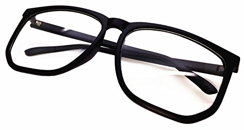FancyG Retro Vintage Inspired Classic Nerd Square Clear Lens Glasses Frame - Black]()