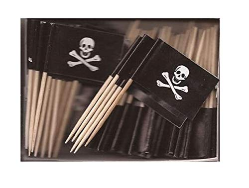 One Box Jolly Roger Toothpick Flags, 100 Small Mini Pirate Skull and Crossbones Flag Cupcake Toothpicks or Cocktail Picks (Jolly Roger Toothpicks)