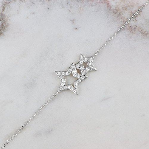 Diamond Star Bracelet, Double Gold Star Bracelet, 9K, 14K, 18K White Gold Charm, Gift For Her, White Gold Star, Two-Star Charm, White Natural Diamonds/code: 0.002
