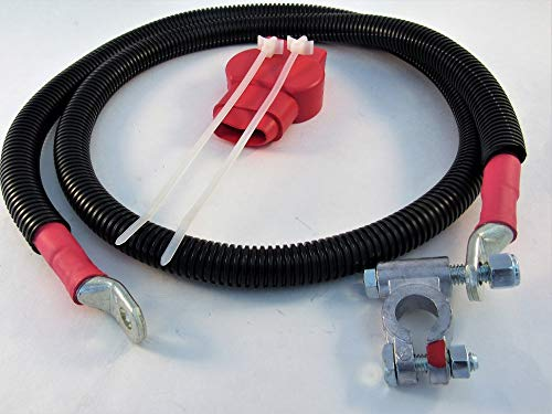 Positive 60'' Right Battery Cable for Gen 2 1994-2002 dual battery Dodge Cummins with Military terminal, loom and cover. by Custom Battery Cables