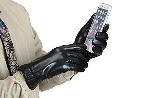 MarSue Mens Full-hand Touchscreen Winter Real Leather Gloves; Premium Ethiopian Sheepskin;
