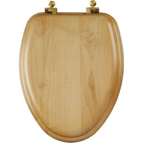 Mayfair 19601BR 418 Natural Reflections Wood Veneer Toilet Seat with Brass Hinges, Elongated, Maple ()