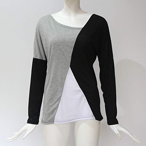 Patchwork Manches Blouse Fashion Casual Longues Shirts Jumper Chemisiers JackenLOVE Pulls Printemps Tops Hauts T Automne et Noir Tee Femmes xOZYAwBqp