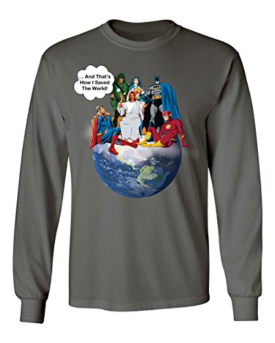 Hot Jesus And Superheroes That\'s How I Saved The World Earth Christian Funny Mens Long Sleeve T-Shirt free shipping 0rFmvpfF