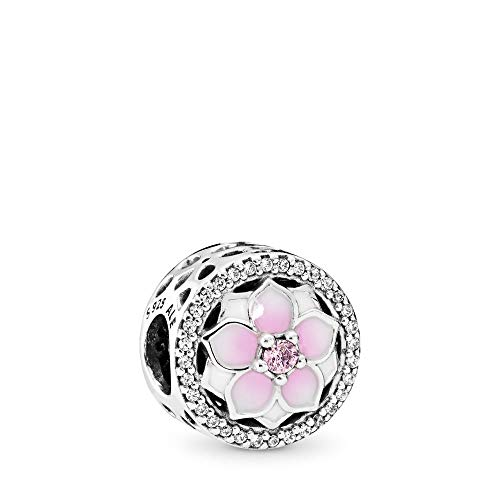 PANDORA Magnolia Bloom Charm, Sterling Silver, Pale Cerise Enamel, Pink & Clear Cubic Zirconia, One Size ()