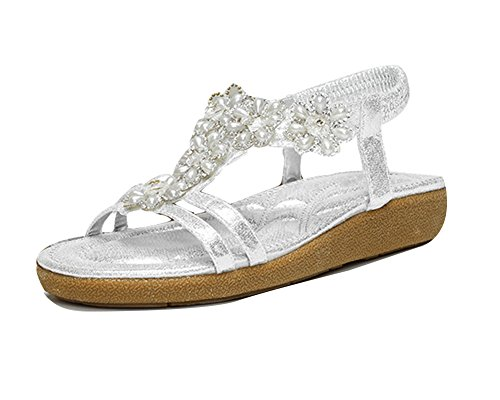 Flip Plana Sandalias De Flops De Zapatos Sandalias Sandalias De Guiran Plata Mujer Playa g011qX
