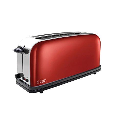 Russell Hobbs 21391-56 Colours Flame Red Langschlitz-Toaster, 6 einstellbaren Bräunungsstufen, Brötchenaufsatz