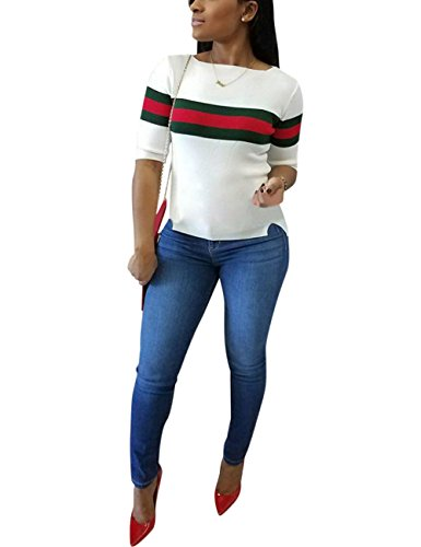 Akmipoem Fashion Ribbon Stripe Patchwork Half Sleeve Ribbed T-Shirt White XXL