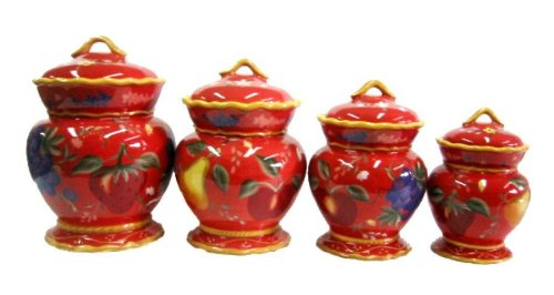 Crimson Orchard 4pc Canister Set by ACK