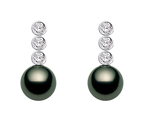 18k White Gold AAAA Quality Black Tahitian Cultured Pearl Diamond Dangle Earrings (10-11mm)