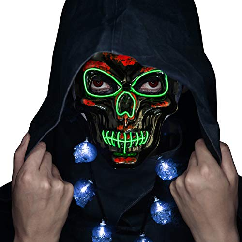Scary Halloween Costume Ideas 2019 (Halloween Mask- LED Light Up Purge Mask Safe EL Wire Scary Mask for Costume Festival Parties(Included LED Necklaces) Black)