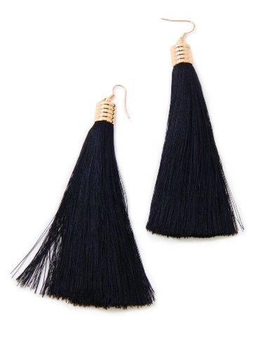 Classic Long Black Tassel Fringed Brush Dangle Statement Hook Earrings