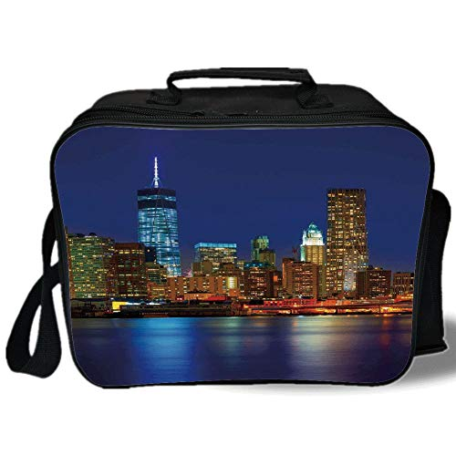 Insulated Lunch Bag,Urban,Manhattan Sunset Skyline New York Cityscape USA Night Lights Buildings Skyscrapers,Multicolor,for Work/School/Picnic, Grey