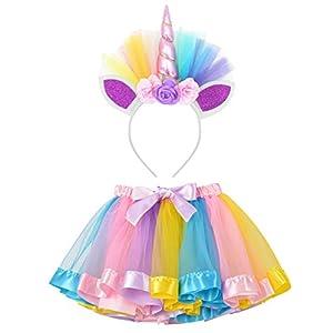 LYLKD Little Girls Layered Rainbow Tutu Skirts with Unicorn Horn Headband