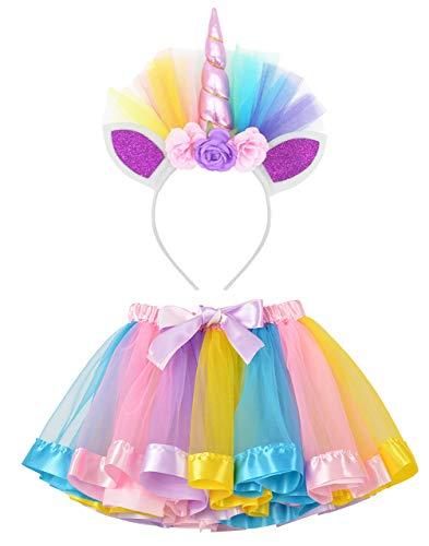 LYLKD Little Girls Layered Rainbow Tutu Skirts with Unicorn Horn Headband (Rainbow-2, L,4-8 Years)