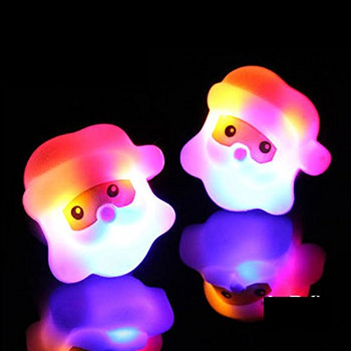 (LED Light Up Flashing Christmas Santa Claus Party Favor Rings by Mammoth Sales)