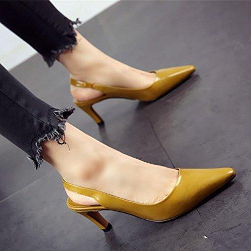 de cuero primavera zapatos personalidad señaló sandalias tacones La de y gruesos sexy el b verano FLYRCX n51wpY0qAx