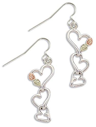 Black Hills Silver Heart Earrings , 12K Gold (Black & Gold Leaf Earrings)