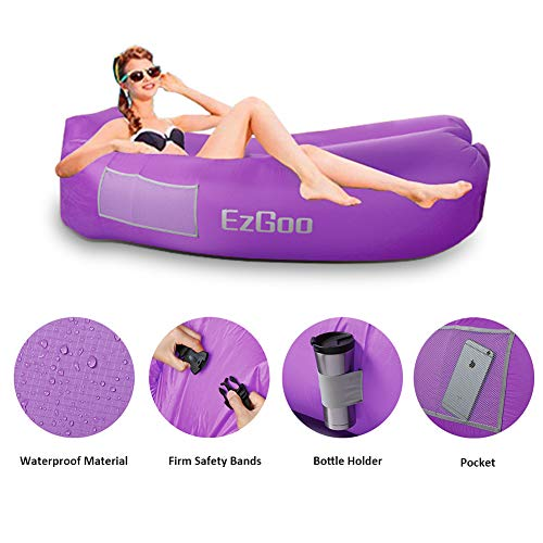 BRAND CENTER Inflatable Lounger Waterproof Nylon Air Sofa with Anti-Air Leaking Design Hammock Best for Pool, Beach Traveling Camping Picnics & Music Festivals, Purple (Sofa Brands List)