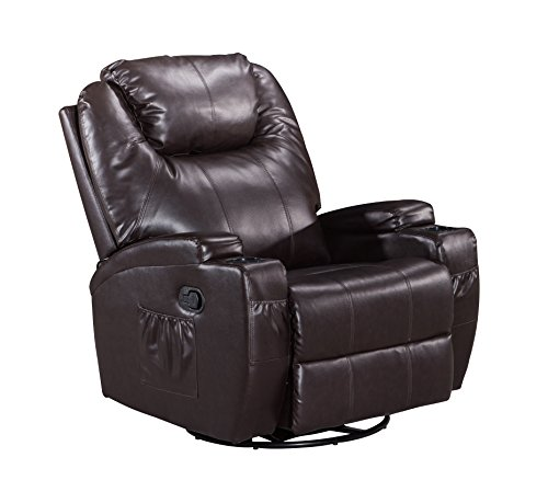 LCH Classic and Traditional Bonded Leather 360 Degree Swivel Rocker Recliner, 1 Seat Motion Sofa Recliner Chair with Padded Arms and Back, Brown