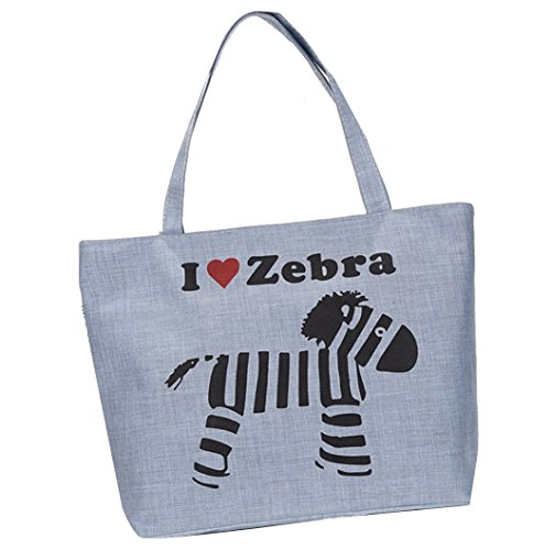 72d63a8b0be01 Damen Canvas zebra Shopper Tasche Leinwand Handtasche Mädchen Umhängetasche  Schultertasche Beuteltasche für Outdoor Camping Ausflug Urlaub