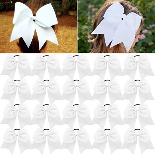 (Large Cheer Bows White Ponytail Holder Girls Elastic Hair Ties 8