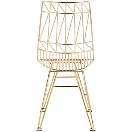 TOV Furniture The Allure Collection Modern Style Salon Living Room Steel Accent Chair Set Of 2 Gold