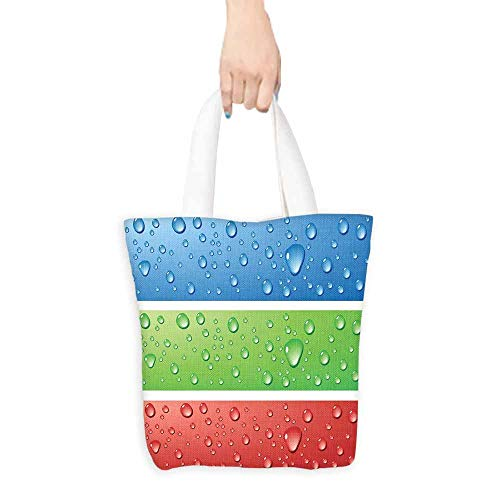 Cosmetic bag,Modern Water Drops on a Plastic Surface Like Summer Vibes Image Artwork Print,Canvas Shopping Beach Cloth Tote,16.5