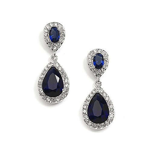 Blue Cubic Zirconia Earrings (Mariell Sapphire Cubic Zirconia Teardrop Earrings for