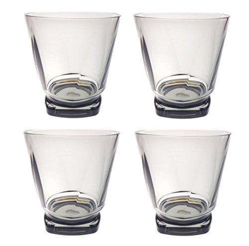 QG 14 Ounce Acrylic Plastic Drinking Glass Twisted Base Tumbler Set of 4 Smoke Grey (Twisted Smoke)
