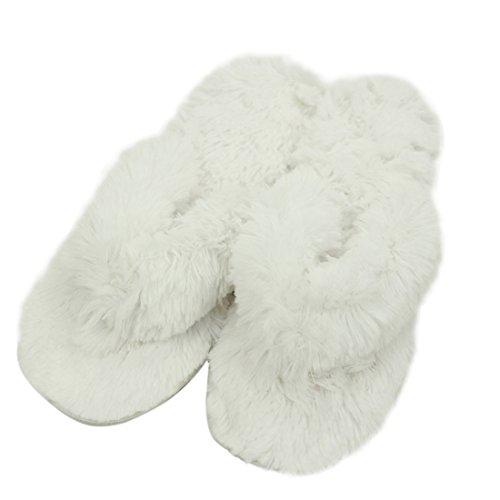 Gohom Frauen Solide Warm Plüsch Hausschuhe Für Zuhause Weiß