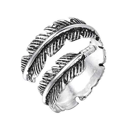 Sterling Silver folk style feather ring (adjustable)(Gift a gift) Diva Sterling Silver Ring