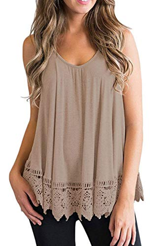 Women's Flowy Tank Tops Camis Scoop Neck Sleeveless Blouse with Lace Hem (Khaki, XL)