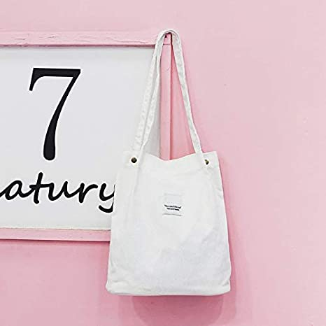 Tenrry Women Canvas Tote Bags Large Capacity Handbag Ladies Shoulder Bag Satchel Solid Color