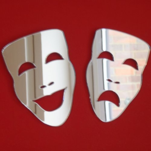 Super Cool Creations Theatre Masks - Tragedy & Comedy Mirrors - 12cm x 8cm each]()