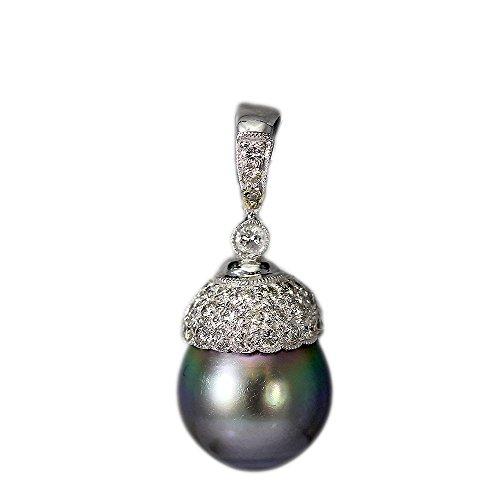 18K White Gold Tahitian Black Pearl Enhancer ()