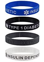 """TYPE 1 DIABETIC INSULIN DEPENDENT"" Medical Alert ID Silicone Bracelet Wristbands 4 Pack"