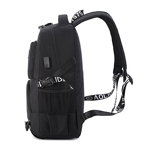 Laptop Notebook Rucksack USB Tasche für Laptop bis zu 15.6 Zoll wasserdichte Schultasche für Computer bei Arbeit, Schule, Uni & Reisen-Rot Schwarz