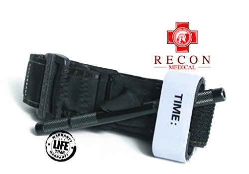 Tourniquet - (Black) Recon Medical Gen 3 Mil-Spec Kevlar Metal Windlass Aluminum Lightweight First Aid Tactical Swat Medic Pre-Hospital Life Saving Hemorrhage Control Registration Card (1 Pack)