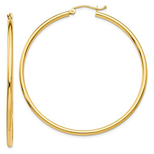 (14K Yellow Gold Tube Hoop Earrings with Click-Down Clasp, (2mm Tube) (50mm))