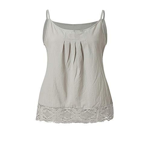 Yiwanjia ⭐◕ω◕⭐Women's Sleeveless Camisole Spaghetti Strap Blouse Lace Hem Tank Tops Casual Pleat Vest Tops (L, Gray - Camisole Pleats