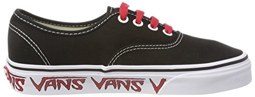 Red Black 'Authentic Sketch Q6d Unisex Black Adults Trainers Vans Sidewall g68RPx