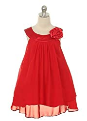 Kid's Dream Girl's Red Simple Chiffon Girl Dress-red-4