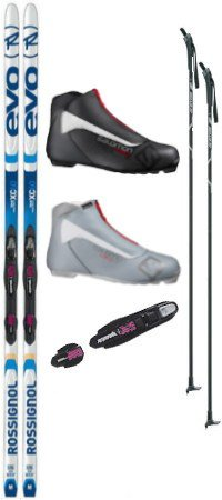 Rossignol Evo XC 60 Tour Cross Country Ski Package (Skis, Boots, Bindings, Poles) by Rossignol