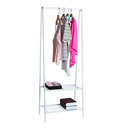Iusun Coat Rack with 2-Tier Shoe Bench Stand Hall Entryway Storage Shelf Look Accent Furniture for Clothes Hat Bag Hanger Floor Bedroom Multi-Function Simple Clothes Rack-Ship from USA (White)